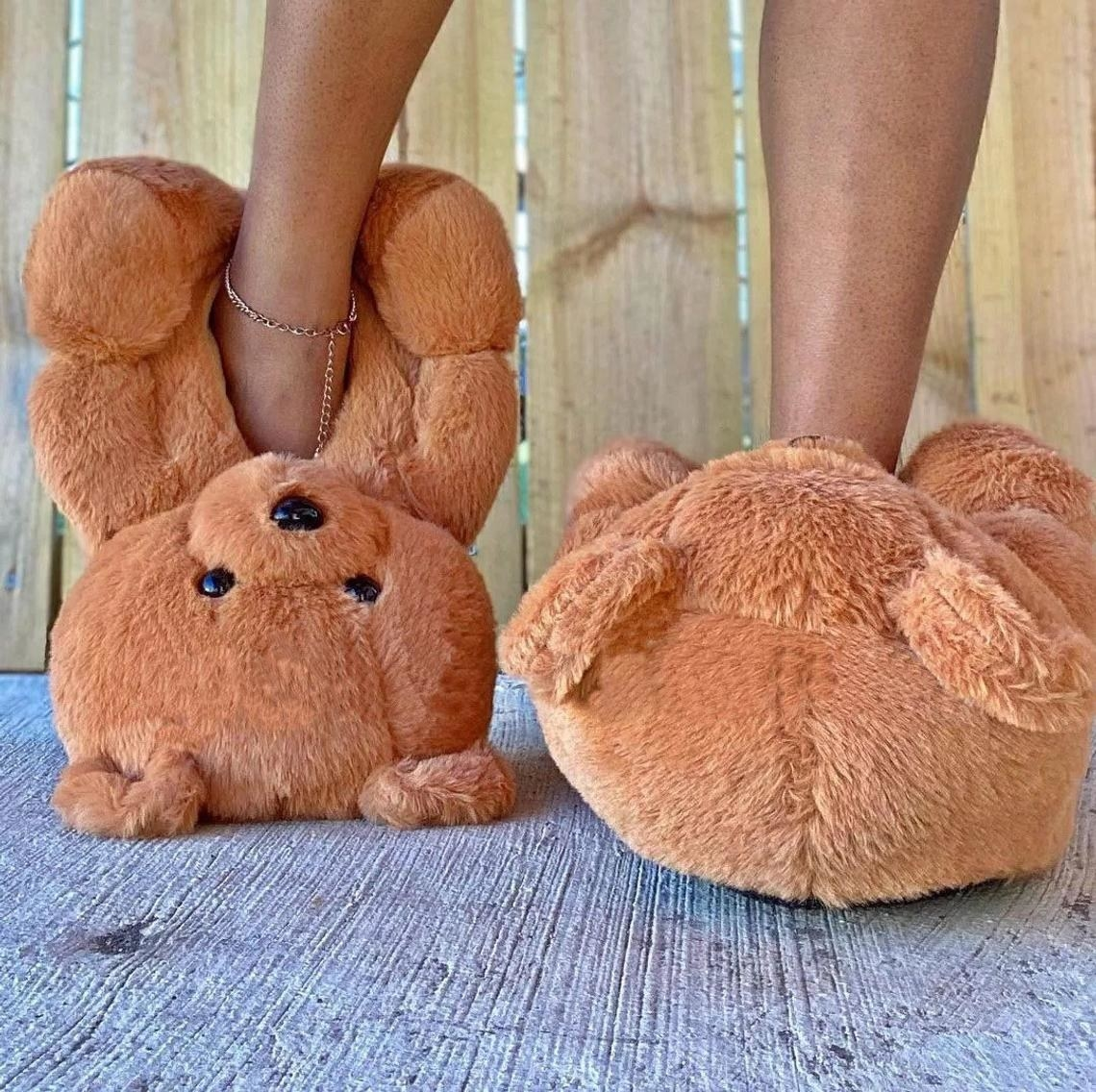 teddy bears with holes in the stomachs for the feet to go in