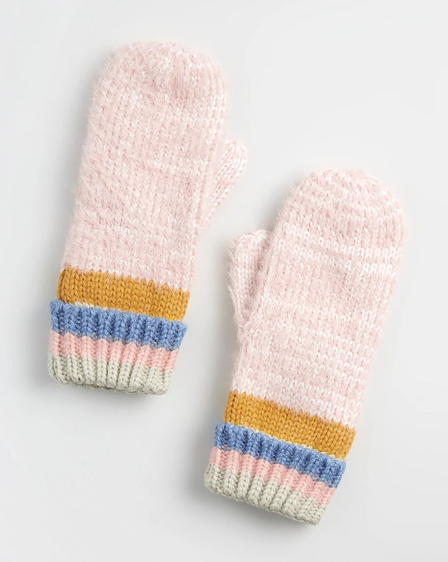 pink knit mittens with mustard, grey, and blue stripes by the cuffs