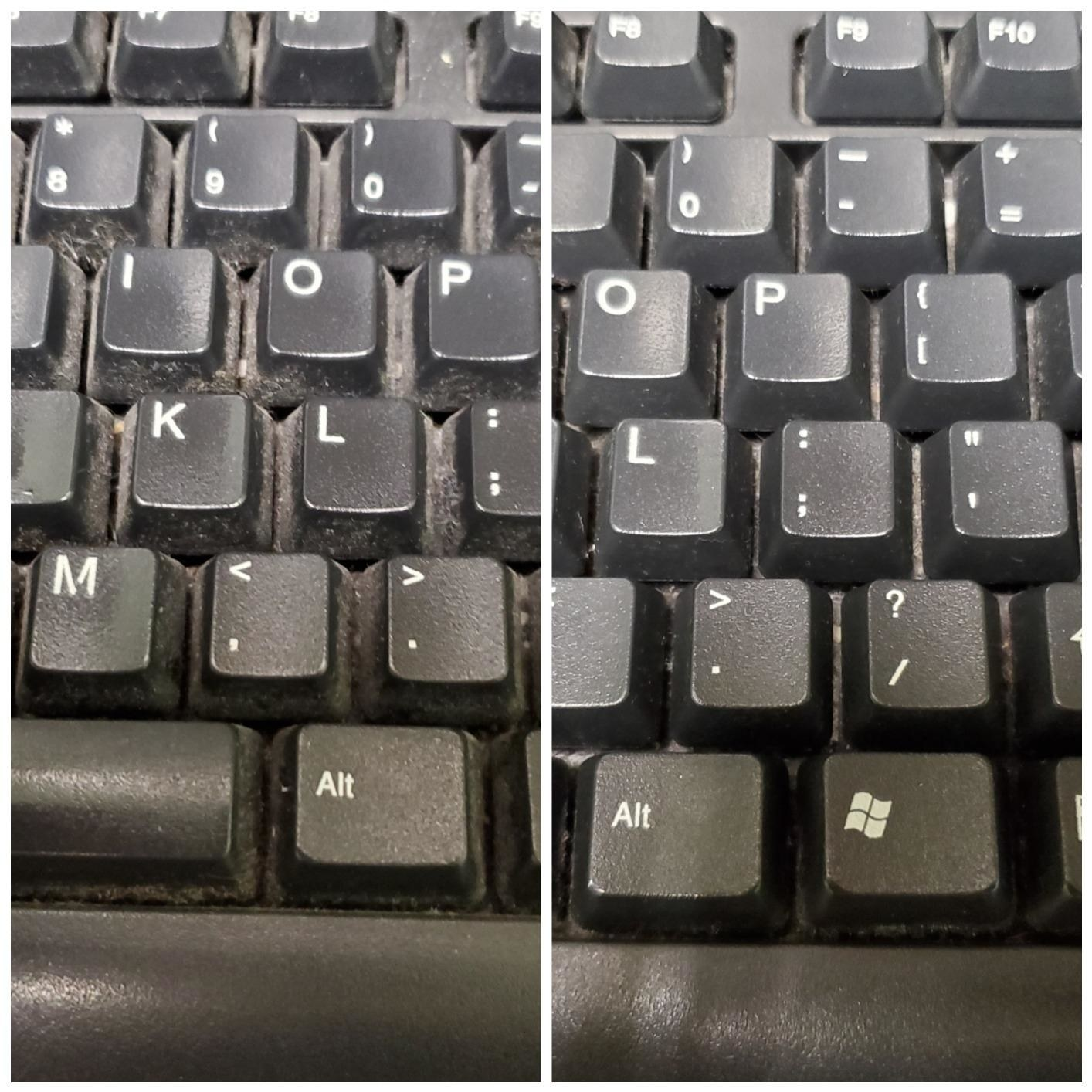 A before and after of a reviewer's keyboard caked with dust then way less dusty