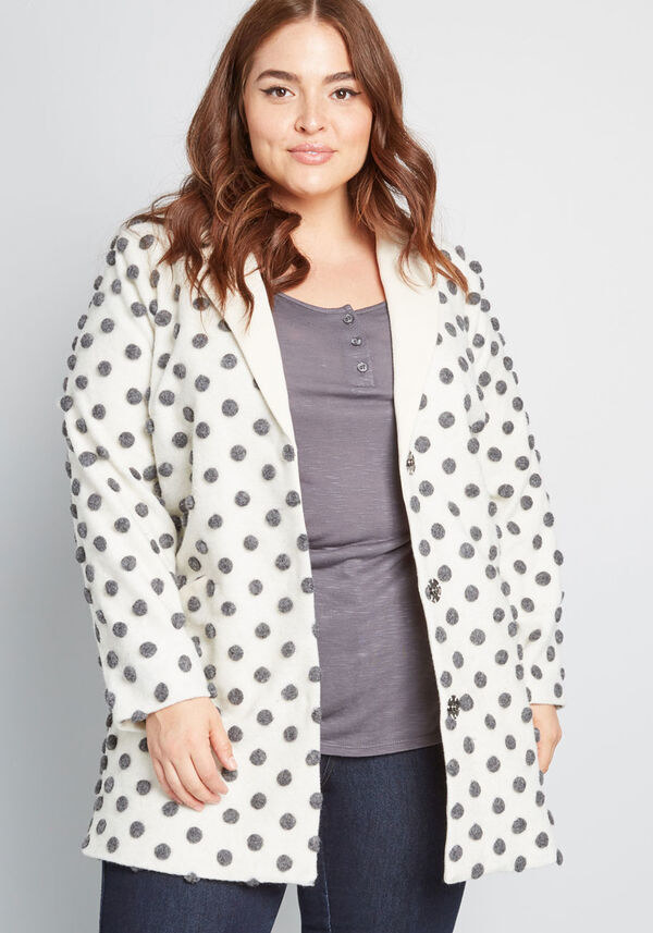 white coat with grey polka dots