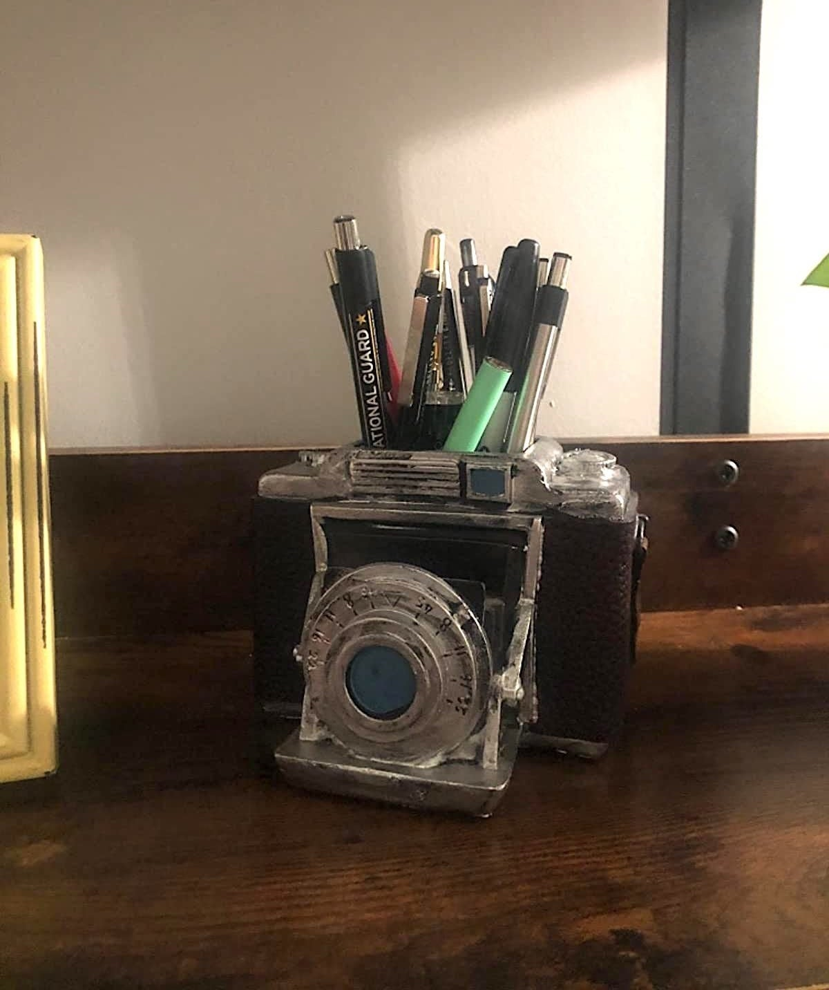 reviewer image of the bellaa vintage camera pen holder with pens in it