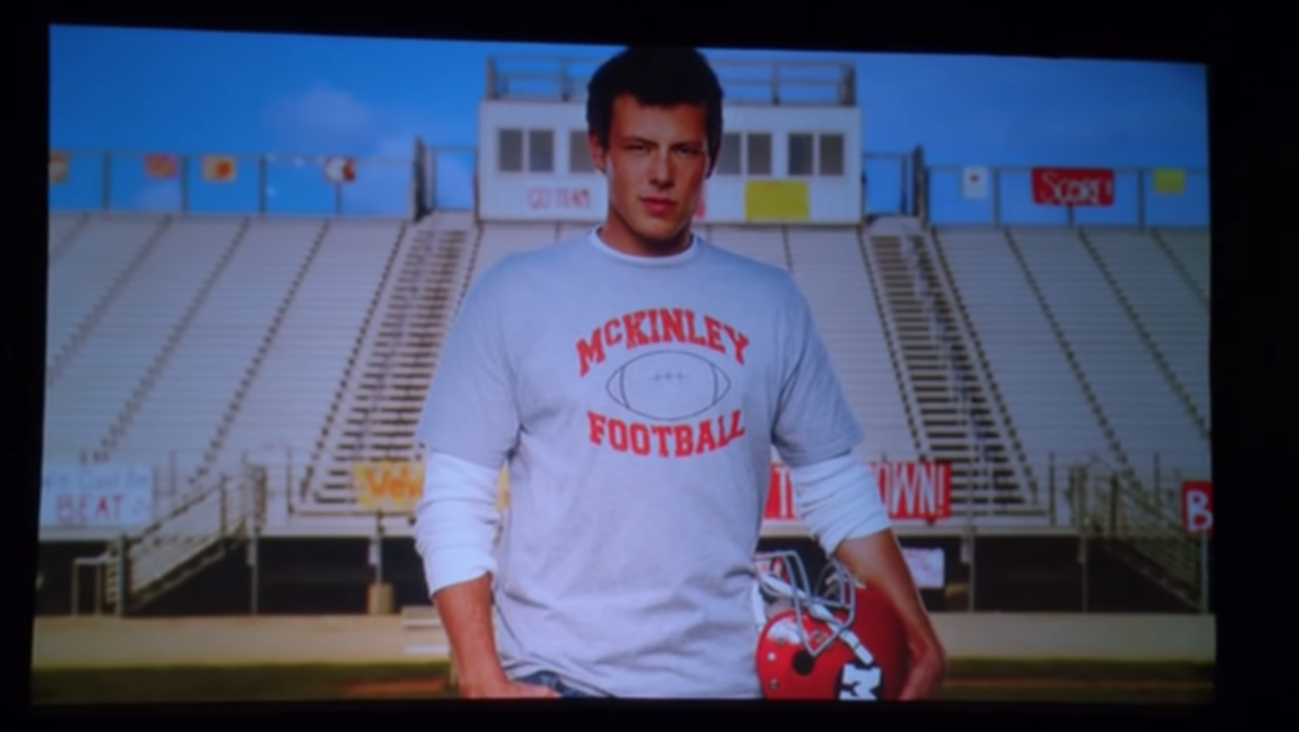 """Cory Monteith as Finn Hudson in the show """"Glee."""""""