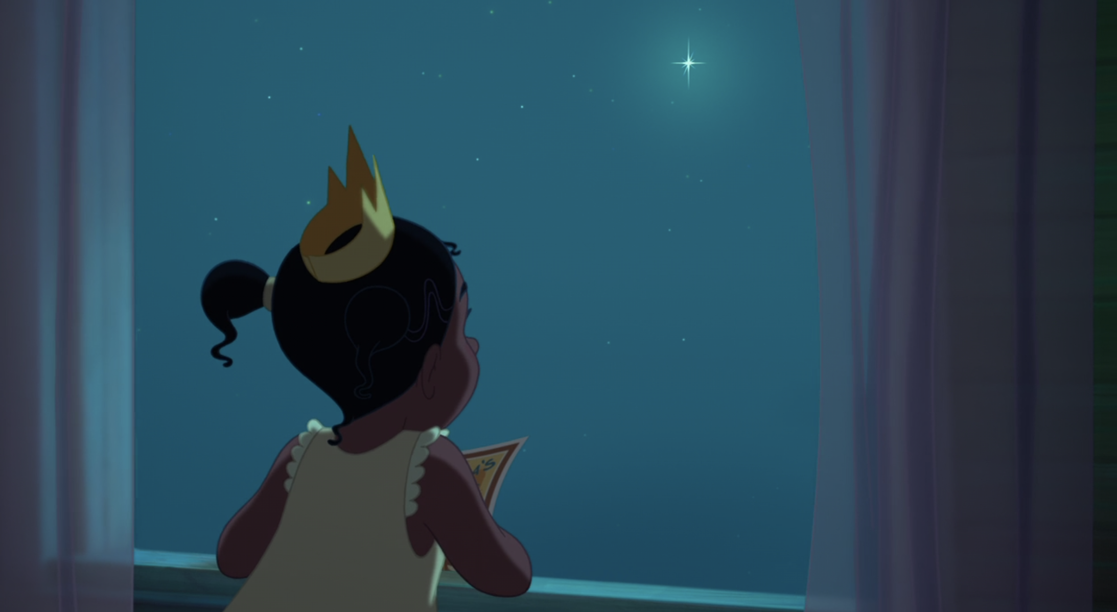 Tiana wishing on a star