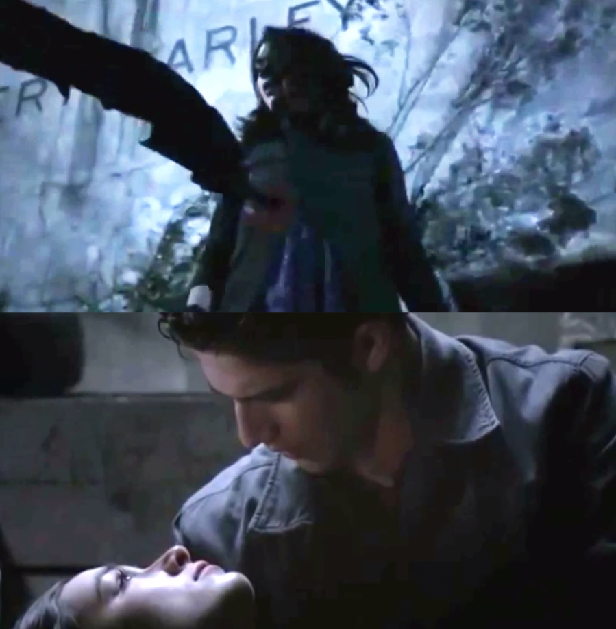 """Crystal Reed as Allison Argent Tyler Posey as Scott McCall in the show """"Teen Wolf."""""""