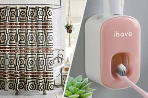 On the left, geometric-print shower curtain in front of tub. On right, pink automatic toothpaste dispenser