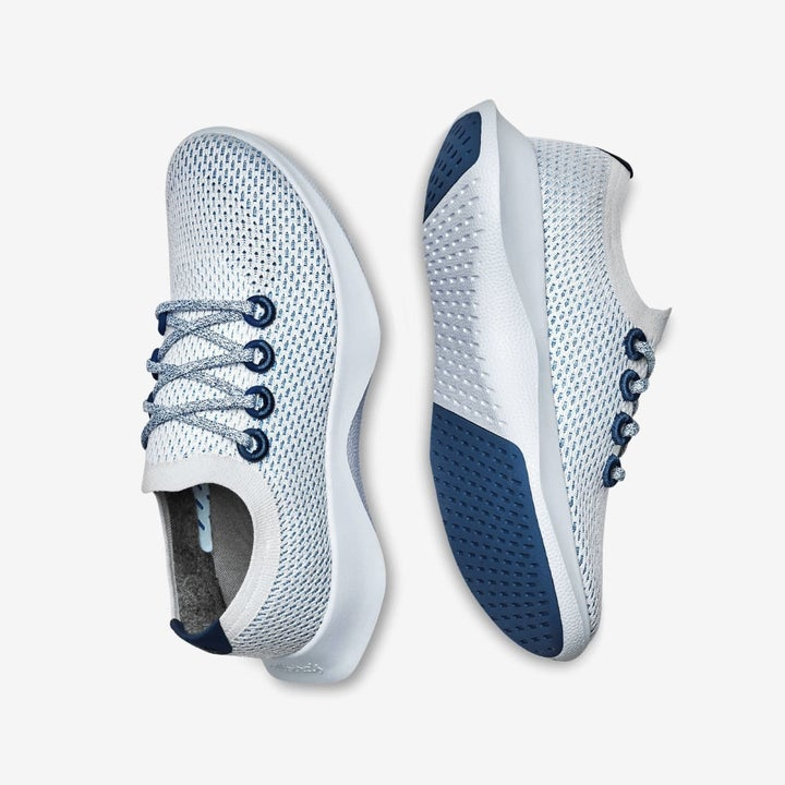 a close up of the light weight light blue sneakers