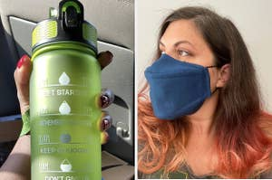 water bottle and face mask