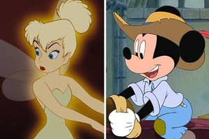 Tinkerbell on the left and Mickey Mouse on the right