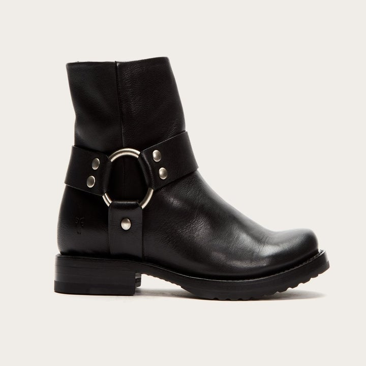 Right side view of the black leather boot