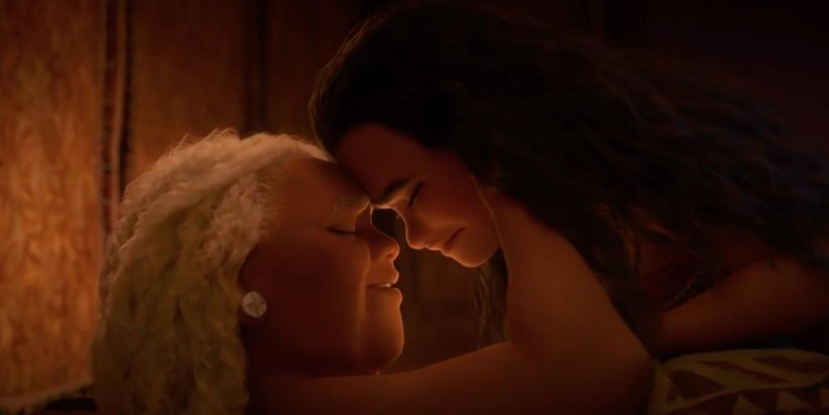 "Auliʻi Cravalho as Moana and Rachel House as Tala in the movie ""Moana."""