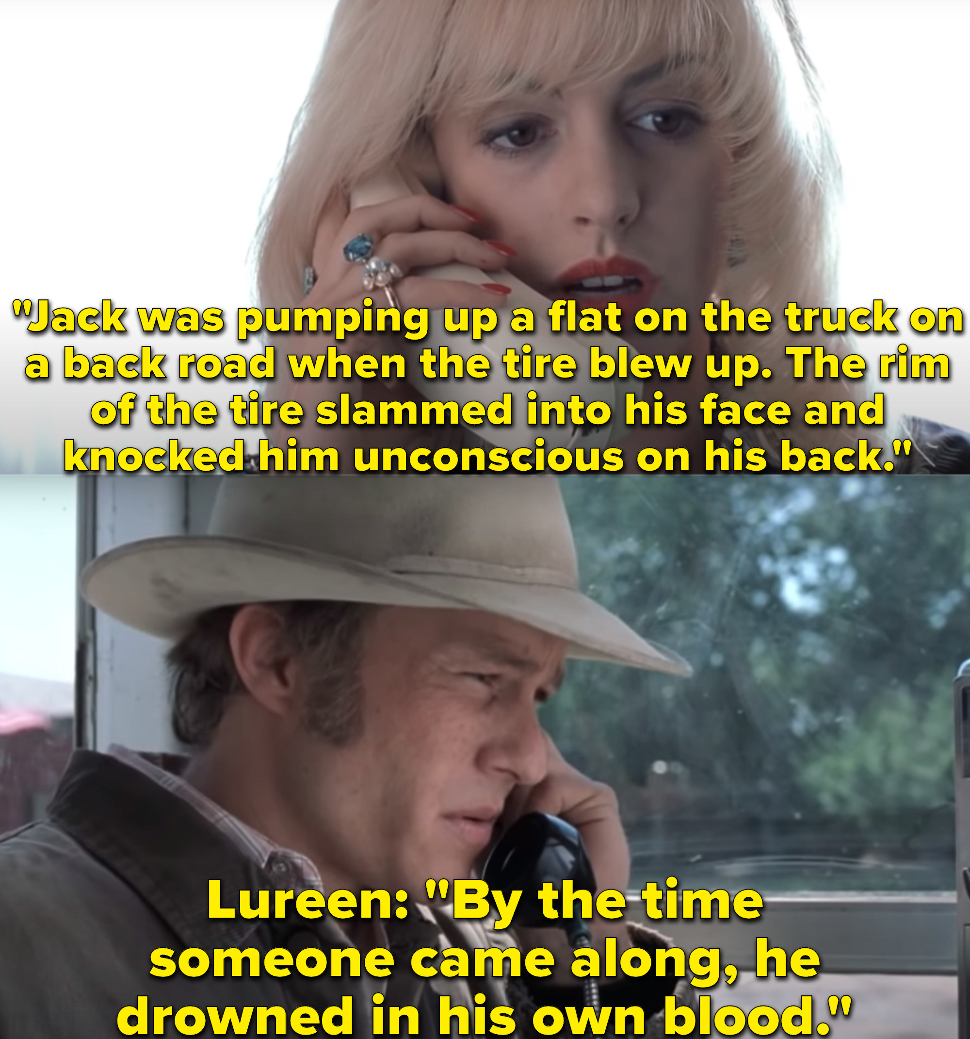 """Heath Ledger as Ennis Del Mar and Anne Hathaway as Lureen Newsome Twist in the movie """"Brokeback Mountain."""""""