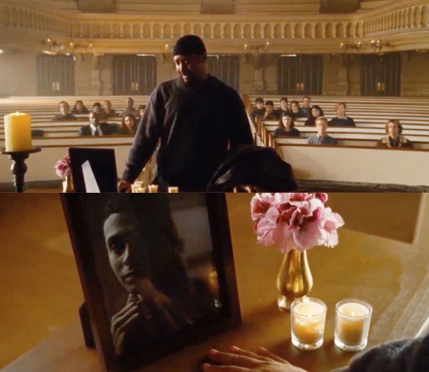 "Jesse L. Martin as Thomas B. ""Tom"" Collins and Wilson Jermaine Heredia as Angel Dumott Schunard in the movie ""Rent."""