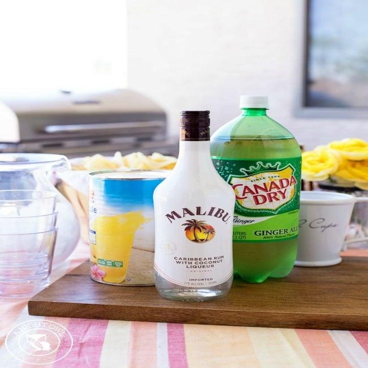 Ginger-ale, pineapple juice, and Malibu.