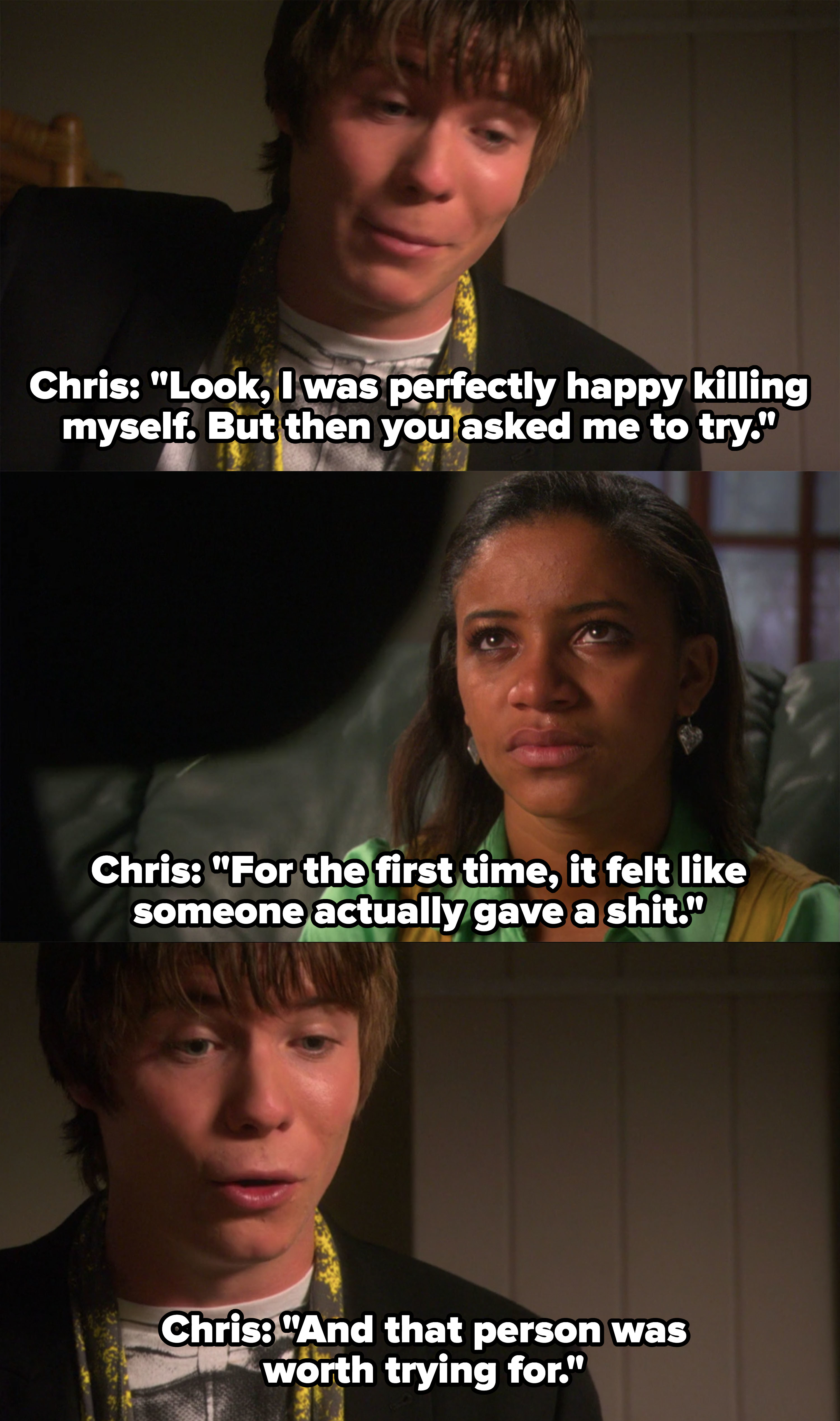 """Chris says he was """"perfectly happy killing himself,"""" but then Jal asked him to try and she was worth trying for"""