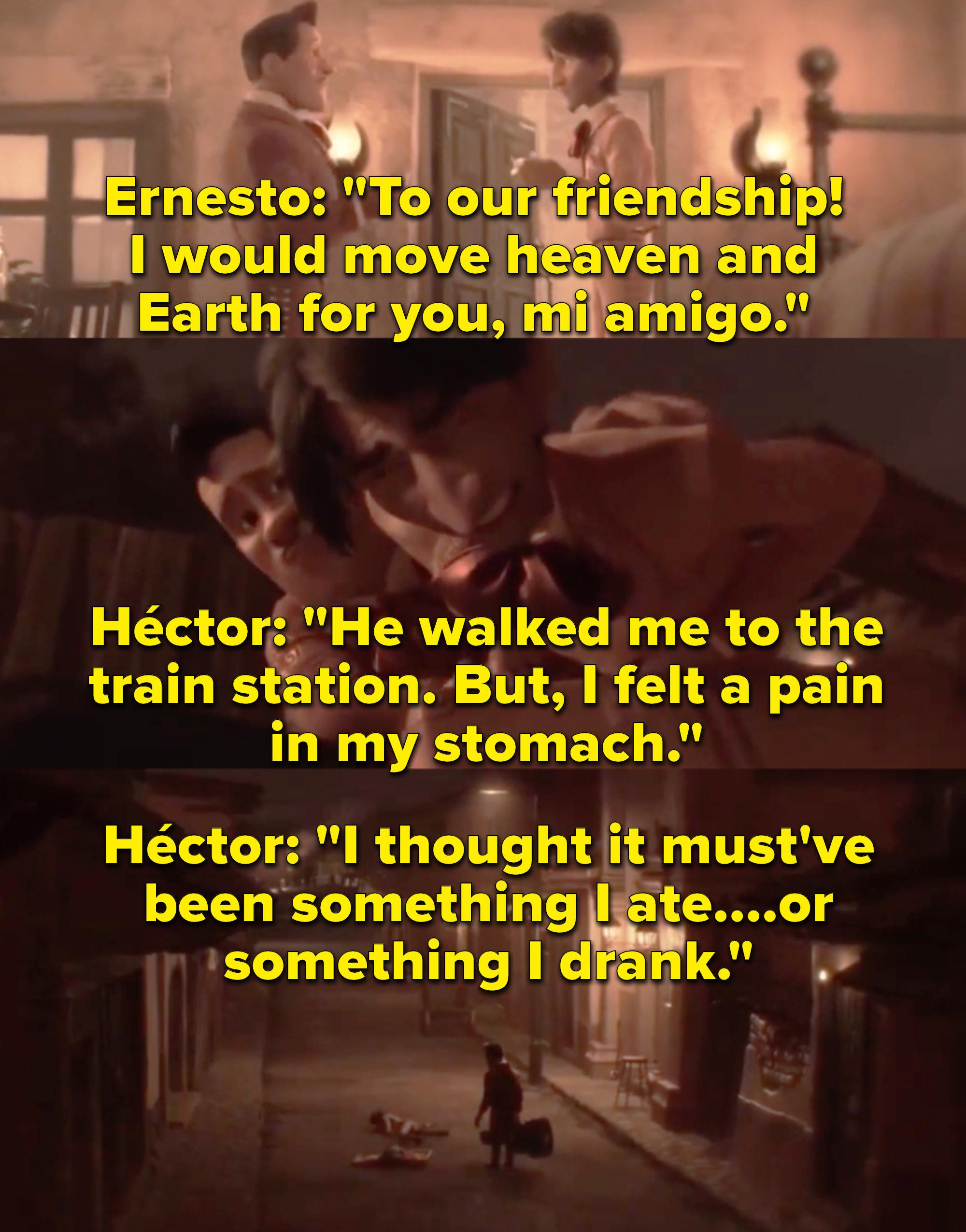 """Gael García Bernal as Héctor and Benjamin Bratt as Ernesto de la Cruz in the movie """"Coco."""""""