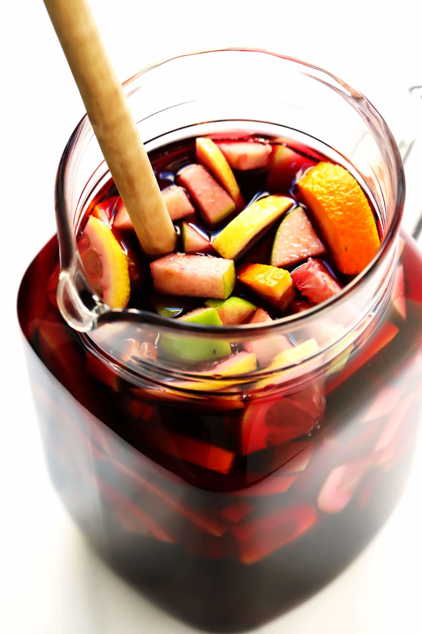 A pitcher of red wine sangria with fruit.