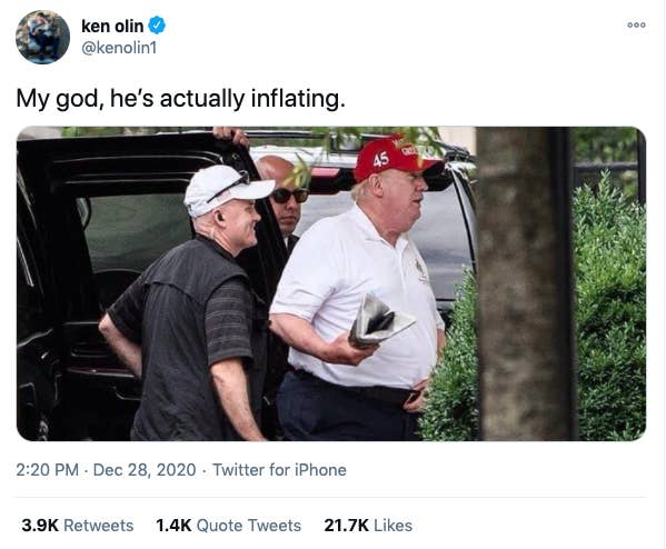 "Screenshot of tweet reading ""My god, he's actually inflating"""