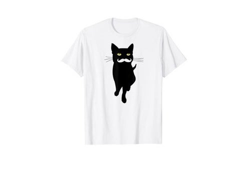 cat with mustache graphic tee