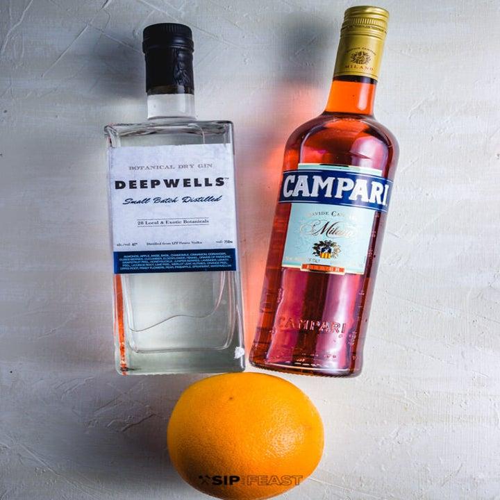 Grapefruit, gin, and Campari.