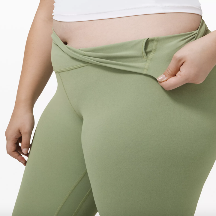 Up close shot of a model showing how the leggings have an interior pocket