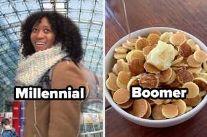 """TikTok main character trend with words """"millennial"""" and pancake cereal with word """"boomer"""""""