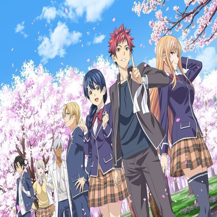"""Characters from """"Food Wars"""" standing in front of a Cherry Blossom tree"""