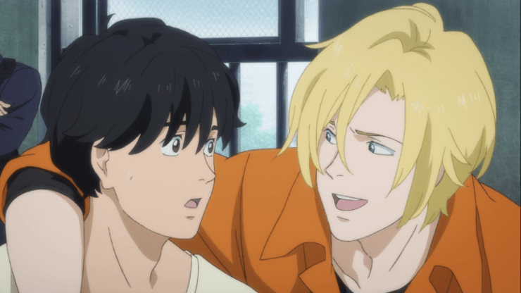 Eiji with his hand draped over Ash's shoulder