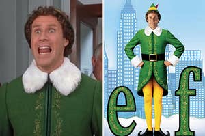 An image of Buddy the elf next to a poster for the movie elf