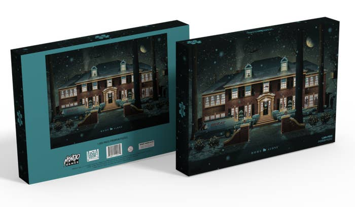 A puzzle box featuring an image of the McCallister house from Home Alone
