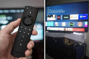 on the left, the fire tv stick remote, and on the right, the screen on a tv when fire stick is plugged in