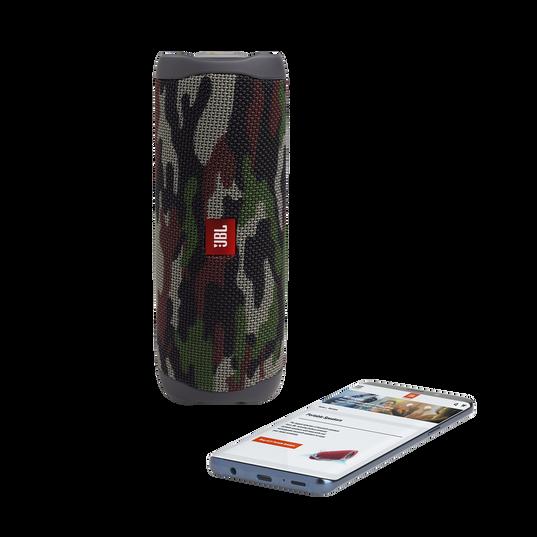 Camo print cylindrical speaker