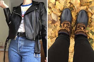 (left) Faux leather jacket (right) Brown Sperry boots