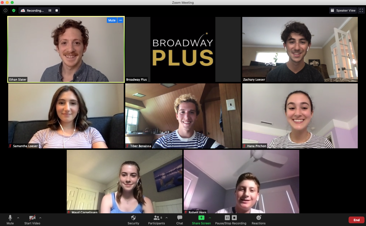A video chat screen with the logo and pictures of a Broadway star and kids all in a chat