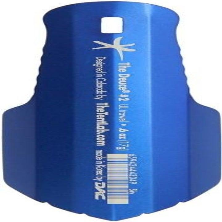 a small blue trowel