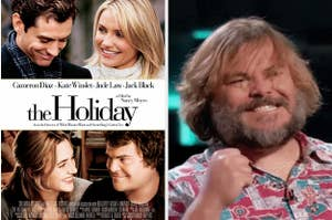 The Holiday poster and Jack Black cheering