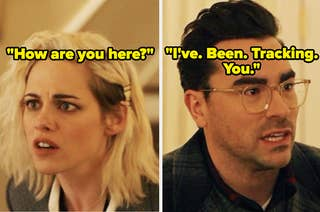 Kristen Stewart as Abby and Dan Levy as John in the movie