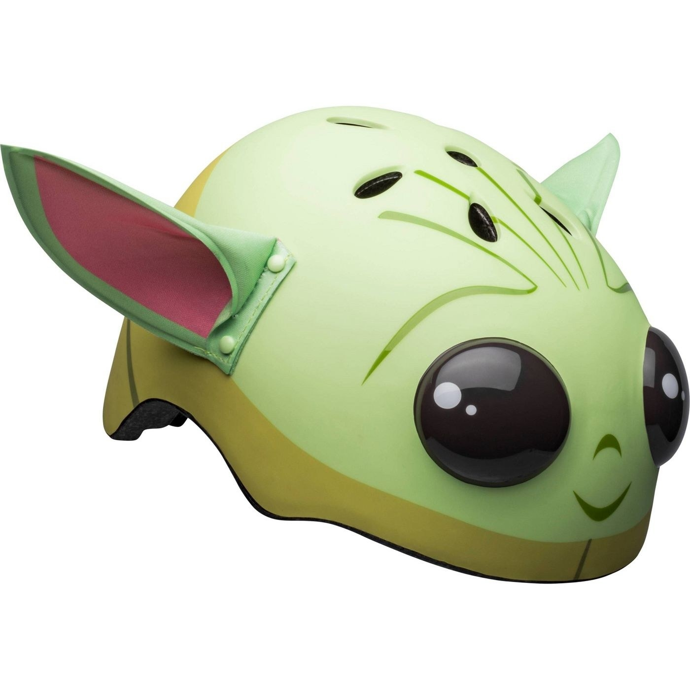 The Baby Yoda face helmet with 3D ears and eyes