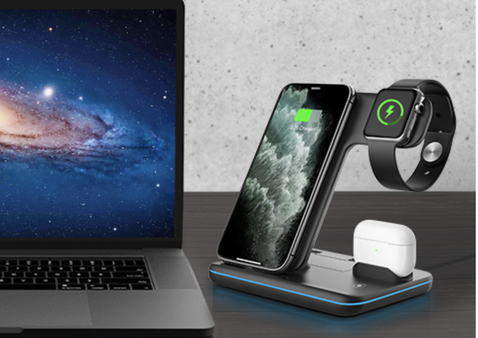 A black charging station on a desk wirelessly charging an iPhone, AirPods, and Apple Watch