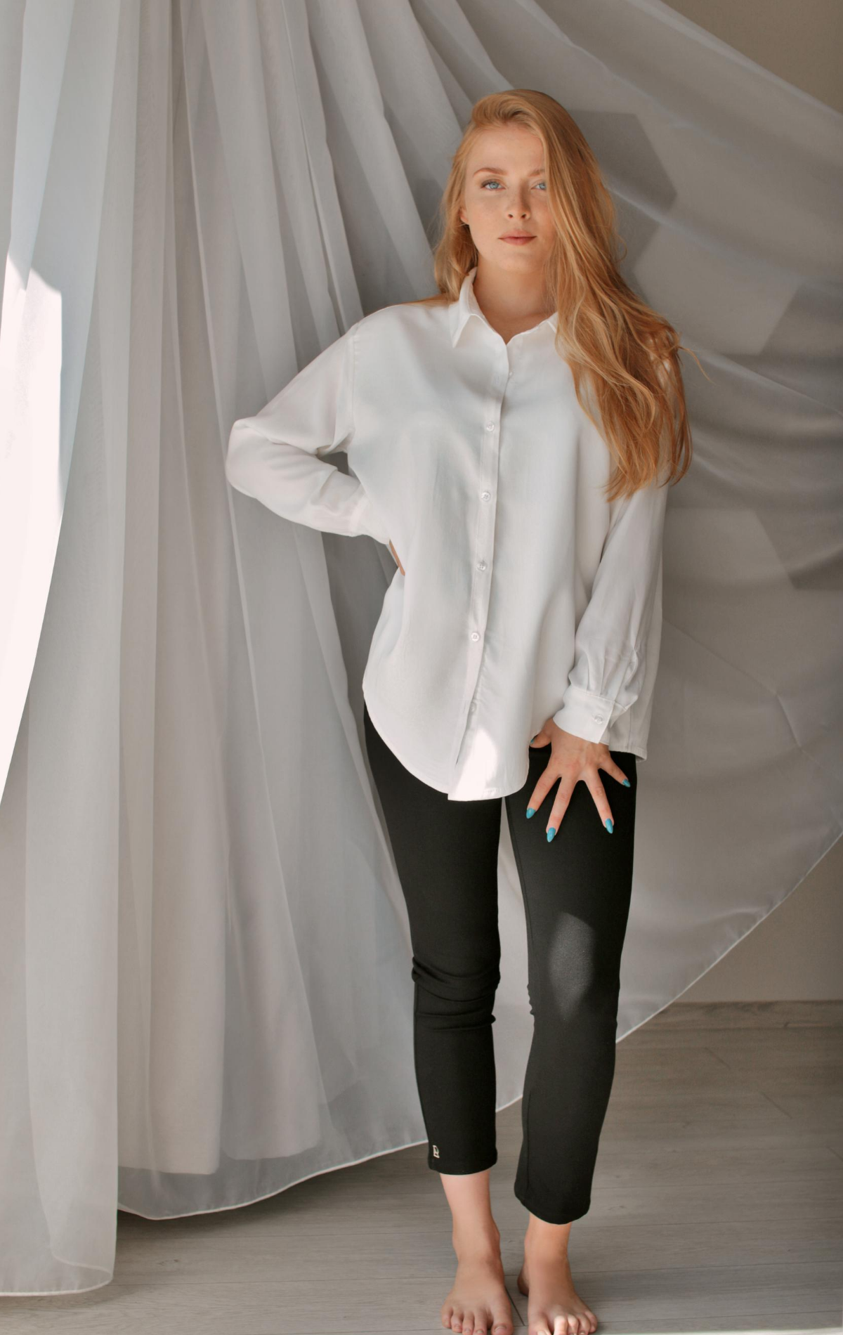A model in the blouse