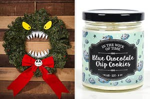 "On the left, a ""Nightmare Before Christmas"" wreath. On the right, a blue chocolate chip cookies scented candle"