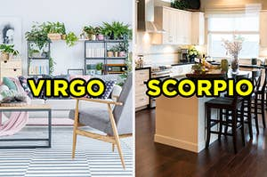 """On the left, a bright, modern living room with a couch, coffee tables, and shelves lined with plants labeled """"Virgo,"""" and on the right, a modern, sunny kitchen with an island with chairs around it labeled """"Scorpio"""""""