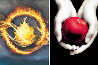 A flame filled eye next to pale hands holding an apple