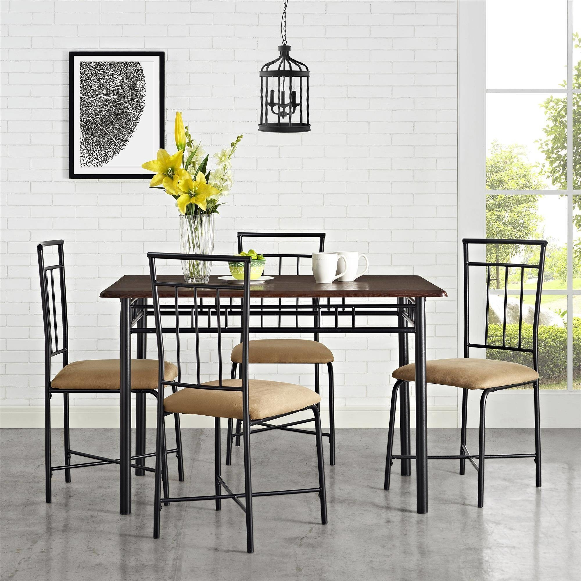 Five-piece dining table and chairs set