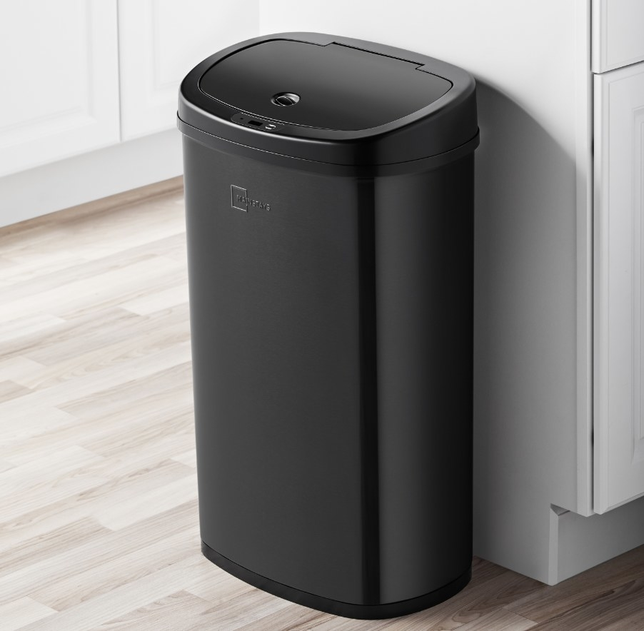 The trash can in the color black