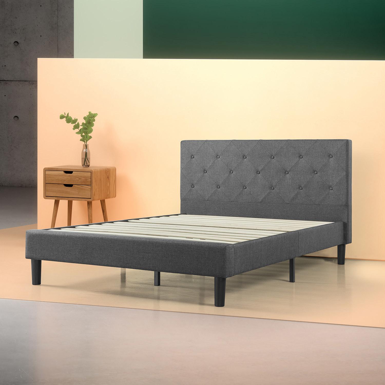 Full-size dark grey platform bed