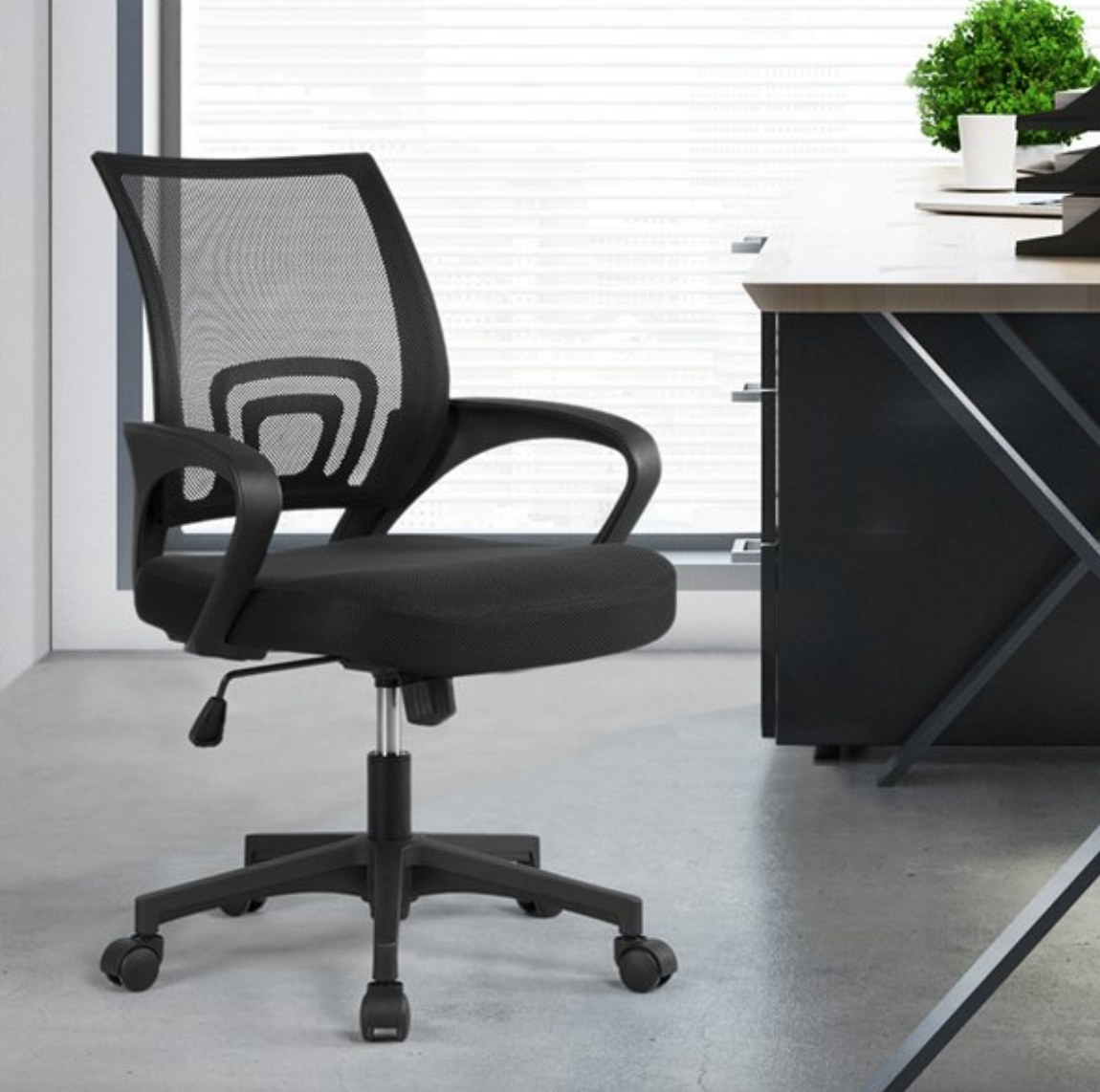 The chair in the color black