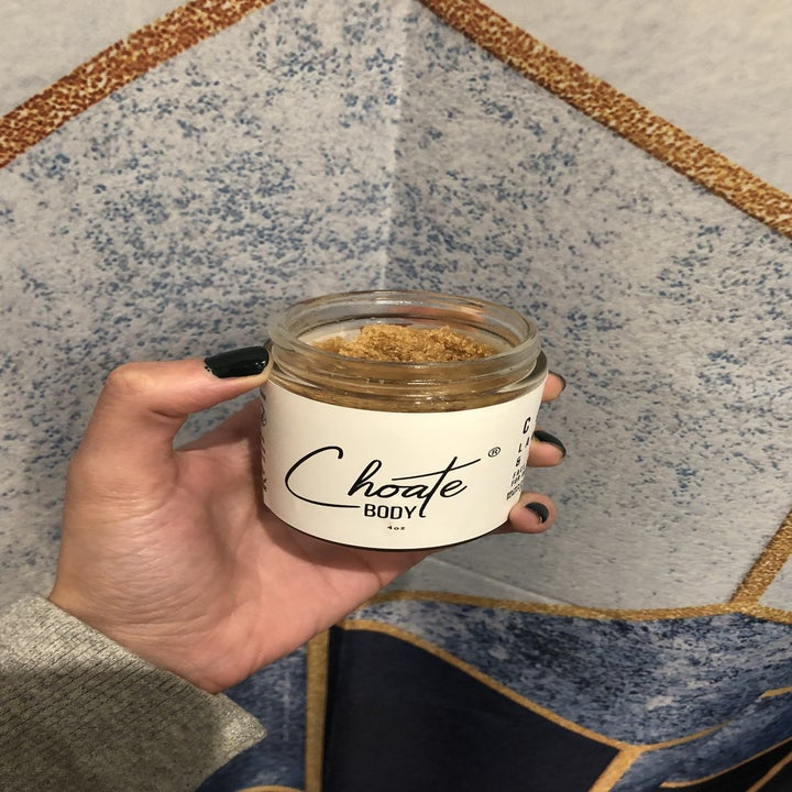 Open jar of same product to show smooth scrub inside