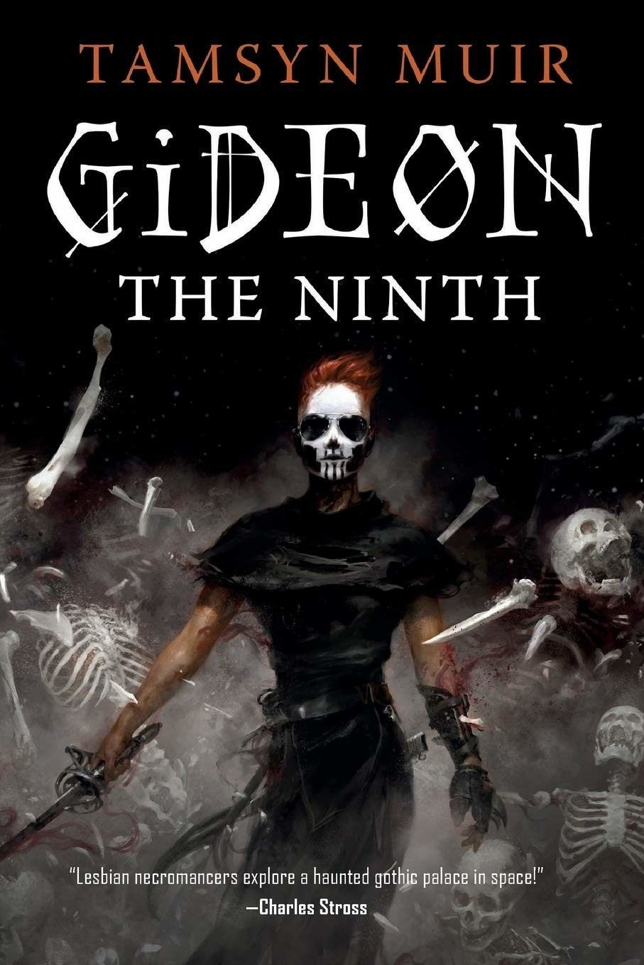 The cover of the book with a person with a skull face in the center