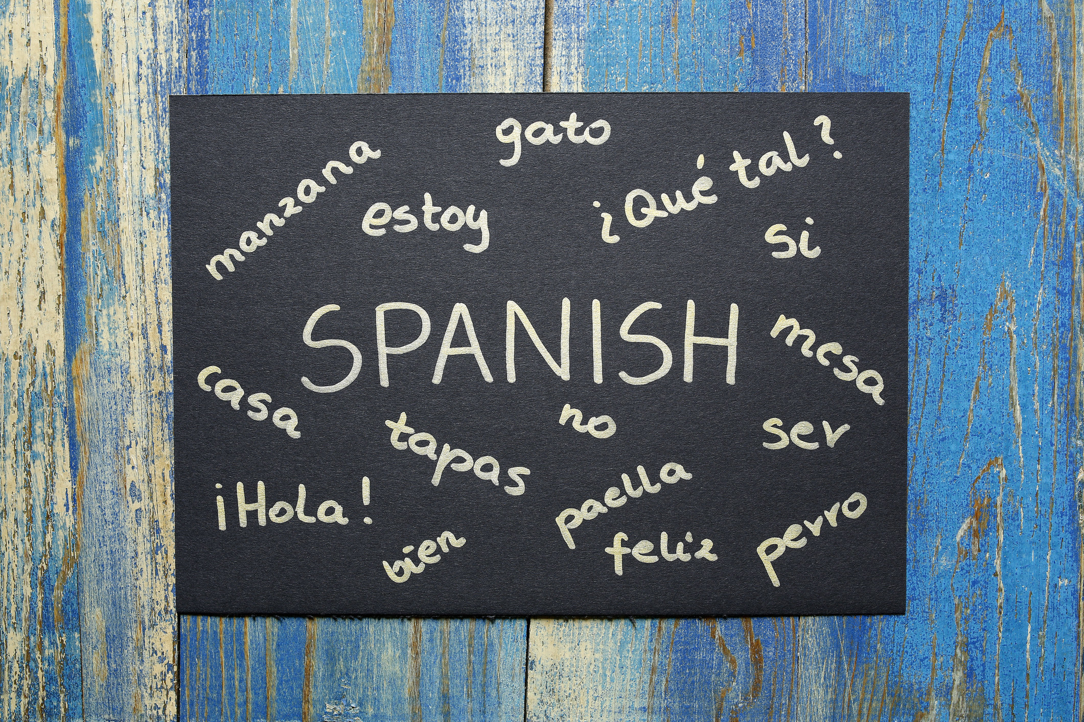 """A blackboard with a variety of Spanish words written on them, like """"Hola,"""" """"estoy,"""" and """"perro"""""""