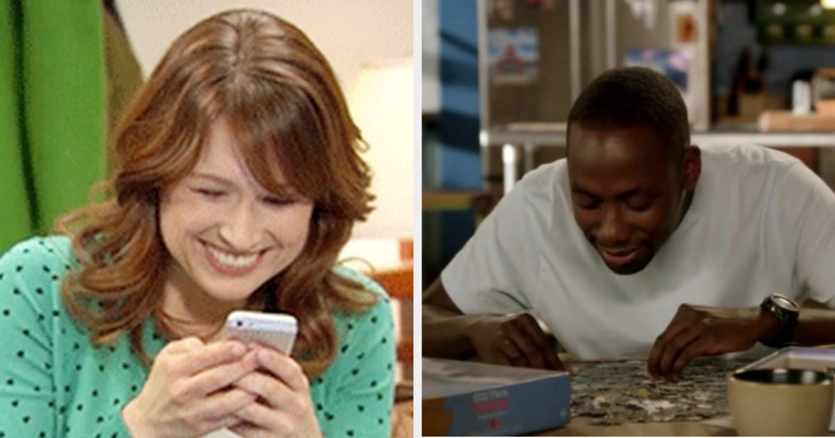 """Erin from """"The Office"""" happily texting someone; Winston from """"New Girl"""" happily doing a puzzle at the kitchen table"""